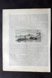 Blackie 1882 Antique Print. General View of Bangkok, Siam Thailand